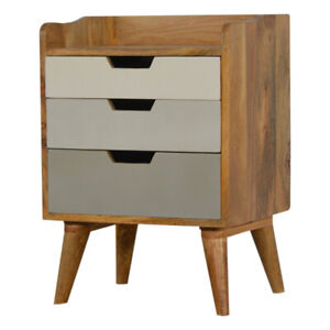 Grey and White Gradient Bedside 3 Drawers Solid Wood H60 x W45 x D35 cm