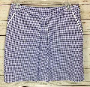 Peter Millar Blue White Houndstooth Center Pleat Golf Skort Skirt Size 12