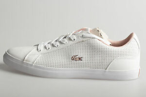 Lacoste Juniors Lerond Trainers White Light Pink Girls Shoes Casual All Sizes