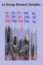 La Groups Rare Earth Metals Elements Samples La, Ce, Pr, Nd, Eu in argon ampoule