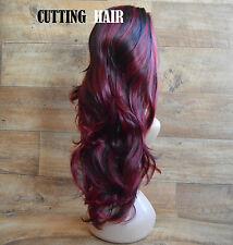 Black Red Burgundy Mix 3/4 Wig Long Curly Layered Half Wig 802-1b/113/118