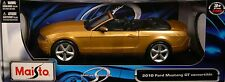 GOLD 2010 FORD MUSTANG GT CONVERTIBLE MAISTO 1:18 SCALE DIECAST METAL MODEL CAR