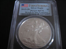 2012-S, American Silver Eagle, PCGS MS70, First Strike -Struck at San Francisco