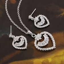 18K White Gold Filled Clear CZ Necklace/Earrings/Pendant Set (S-119)