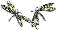 Dragonfly - Damselfly - Insect - 2 Connected Embroidered Iron On Applique Patch
