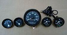 Willys MB Jeep Ford CJ GPW Gauges - Speedometer+Temp+Oil+Fuel+ Ampere -Black