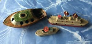 Lot of 3 Small 1930s Toy Ships, 2 Wooden, 1 CK Pop Pop Tin Toy Made in Japan