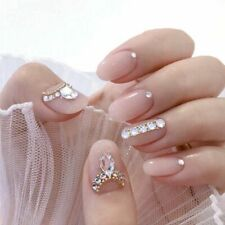24Pcs Full Cover Short Square Press On Nails Pink Dripping Shape Heart Bride New