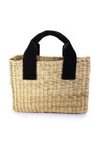 Designer Structured  Woven Straw Tote Handbag Natural Black