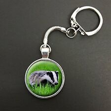 Badger Pendant On A Snake Keyring Ideal Birthday Gift N86