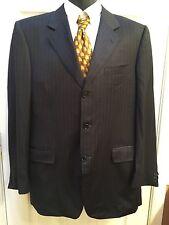 Canali Men's Black Blue Pinstripe Wool 3 Button Blazer Size 50L Euro 40L US