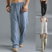Men's Chinese Style Rayon Pants Casual Loose Elastic Waist Ethnic Solid Trousers