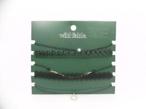 Wild Fable Trim, Simulated Pearl & Textured Ring Charm Choker Necklace Set 5ct