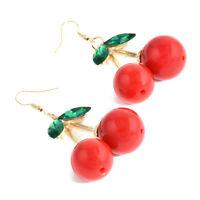 Women Fashion Cherry Drop Dangles Rhinestone Ear Studs Earrings 1 Pair