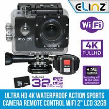 "Elinz UHD 4K Waterproof Action Sports Video Camera Remote Control WiFi 2"" 32GB"