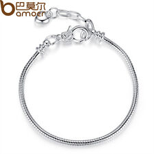 BAMOER Love & Hearts Silver Snake Bracelets With Buckle Fit European Charms Bead
