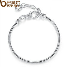5pcs Love & Hearts Silver Snake Bracelets With Buckle Fit European Charms Beads
