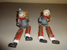 "2 Snowmen Red and Green Plaid Pants 7"" Ceramic Blue Christmas Shelf Sitters Set"
