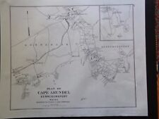 Reprint 1899 Map Cape Arundel Kennebunkport Kennebunk Beach Cape Porpoise Maine