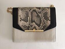 BRAND NEW Womens Vince Camuto Animal Print Black & Bone Leather Handbag Clutch