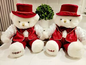"""TWO Dan Dee Collector's Choice 2002 White/Red Christmas Teddy Bear Plush 20"""""""