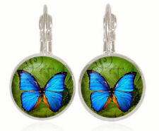 Artistic Painted Butterfly  18mm Stud Clip Back Earrings With Gift Bag