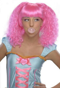 Adult Womens Hot Pink Nicki Minaj Bubble Gum Clown Curly Wig 1980s Bubble Gum