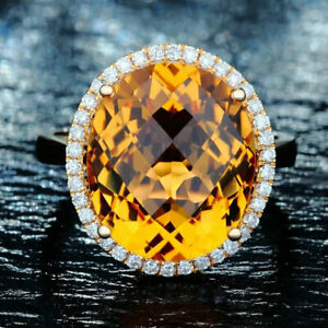 14*12MM Oval 7.58ct Natural Citrine Diamond Ring Engagement G14K Yellow Gold