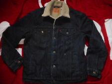 original LEVIS levi trucker sherpa JACKET COAT dark blue selvage style denim XL