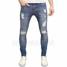 Enzo Mens DESIGNER Branded Ripped Super Stretch SKINNY Distressed Jeans Mid Stonewash 30w 32l