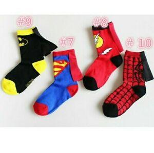 Superhero Socks 4-pk Child Superman Spiderman Batman The Flash. All 4 Styles Inc