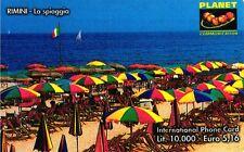 1081 SCHEDA TELEFONICA INTERNAZIONALE USATA PLANET G PLC 81 ITALIA RIMINI