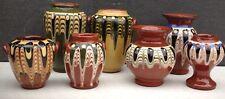 7 piccole vintage bulgara TROJAN POTTERY VASI di terracotta