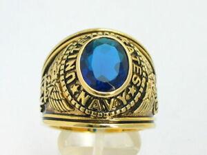 12x10 mm United States Navy Military September Blue Stone Men's Ring Size 7-15