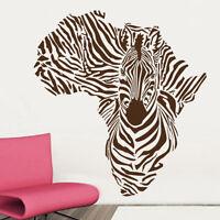 Sticker Décoration XXL Carte de L'Afrique Décor Camouflage Zèbre (65x60 cm)