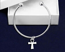 Floating Cross Bangle Bracelet Religious Jewelry God Faith comes with Gift Box