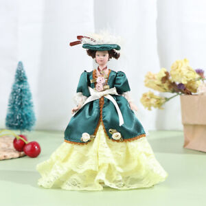 1Pc 1:12 Dollhouse Miniature Doll Model Porcelain Victorian Miss Lady Doll TBBI
