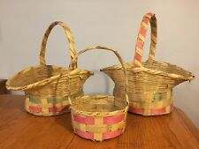 Vtg Lot 50's-60's Straw Woven Easter Baskets for Egg Hunt