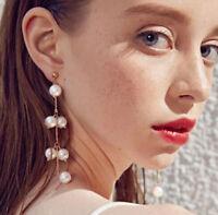 Simulated Pearl Long Tassel Earrings Statement Dangle Ear Stud Women Jewelry