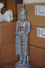 Buddha Groß 74 cm Grau Gold Feng Shui Statue Budda Figur Garten Deko Wetterfest