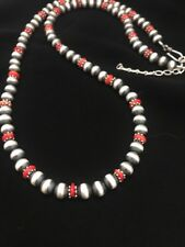 Native American Sterling Silver Navajo Pearls  Coral Bead Necklace  24 Inch