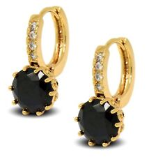 18ct Gold Filled Womens Hoop Earrings with Black and White CZ Crystals