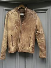 "40"" Hipster brown distressed padded leather café racer style jacket 1980s"