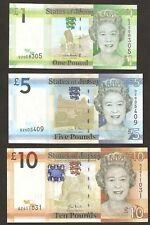 2010 Jersey £1 / £5 / £10 Pounds Replacement Set Unc # P32 / 33 / 34