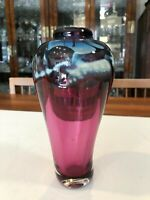 "Vintage Murano Art Glass Cranberry, Blue, White Vase, Italy, 7 1/2"" Tall, 4"" W"