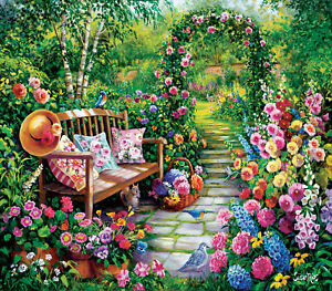 KIM'S GARDEN by SUSAN RIOS SunsOut 1000 piece puzzle flowers bench trellis - NEW
