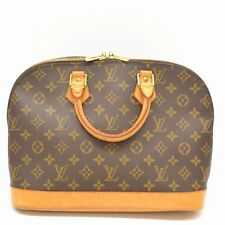 Authentic Louis Vuitton Monogram Satchel Hand Bag Purse Alma Leather Brown LV