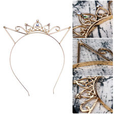 Girls Metal Rhinestone Crown Cat Ear Headband Hair band Costume Party Cosplay CH