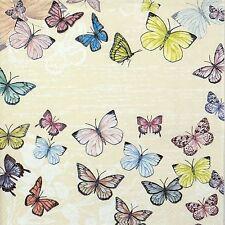TOVAGLIOLI di carta 4x-Farfalla Crema-Per Decoupage Decopatch Craft