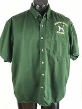 Hillbilly Layback Kennels Large Green Short Sleeve Button Down Shirt E4518AUG19